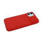 Силиконовый чехол Samsung Galaxy A51 ребристый, свап-защита камеры, красный