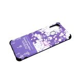 Задняя крышка Huawei Honor 9a цветной рисунок, антишок углы, черная окантовка, цветы, фиолетовая