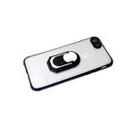 Задняя крышка Xiaomi Redmi 9c матово-прозрачная с защитой камеры, кольцо-подставка, черный