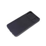 Силиконовый чехол Samsung Galaxy A71 матовый, camera protection ребристый, черный