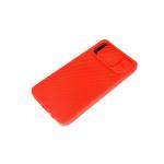 Силиконовый чехол Samsung Galaxy A71 матовый, camera protection ребристый, красный