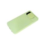 Силиконовый чехол Samsung Galaxy A71 матовый, camera protection ребристый, оливковый