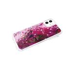 Чехол для Samsung Galaxy A52 переливашка с картинкой, бабочка малиновая