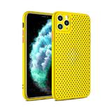 Силиконовый чехол Iphone 11 перфорированный, плотный с цветными кнопками, желтый