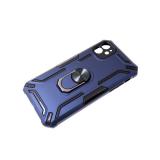 Задняя крышка Xiaomi Redmi Note 9 Pro противоударный трансформер, с кольцом, темно-синяя