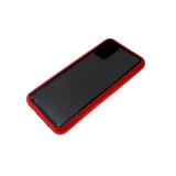 Задняя крышка Samsung Galaxy A02s прозрачная, цветной борт и кнопки, красная