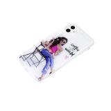 Силиконовый чехол Samsung Galaxy A71 с блестками внутри с рисунком, девушка с кофе