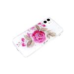 Силиконовый чехол Samsung Galaxy S21 с блестками внутри с рисунком, роза с листьями