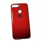 Силиконовый чехол Huawei Y6 Prime 2018 с блестящей окантовкой лого, красный