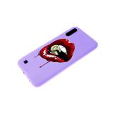 Силиконовый чехол Samsung Galaxy M01 софт-тач, глянцевый рисунок, губы и пуля
