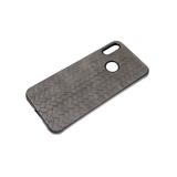 Силиконовый чехол Iphone 12 mini (5.4) текстильное плетение, черный борт, серый