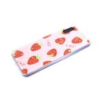 Задняя крышка Xiaomi Redmi Note 9 Pro утолщенный, с блестками-звездочками, клубника
