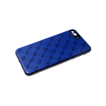 Силиконовый чехол Samsung Galaxy S20 FE черный борт, под кожу, матовый, фактурные узоры, синий