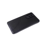Силиконовый чехол Samsung Galaxy A02s черный борт, под кожу с прострочкой, черный