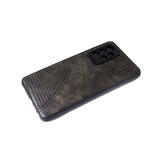 Силиконовый чехол Samsung Galaxy A02s черный борт, под кожу с прострочкой, коричневый
