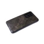 Силиконовый чехол Iphone 12 (6.1) черный борт, под кожу с прострочкой, коричневый
