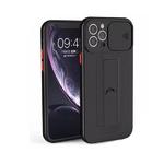 Силиконовый чехол Iphone 11 глянцевый, свап камера, с подставкой, черный