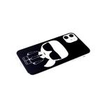 Чехол для Iphone 11 красочный принт, прозрачный-силиконовый борт, КАРЛ, черная