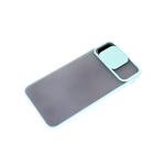 Чехол для Samsung Galaxy A32 4G матово-прозрачная, ребристая свап-камера, бирюзовая