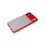 Чехол для Xiaomi Redmi 9T матово-прозрачная, ребристая свап-камера, красная