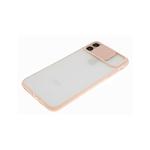 Чехол для Samsung Galaxy A32 4G матово-прозрачная, ребристая свап-камера, персиковая
