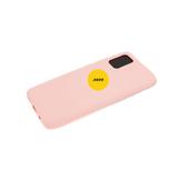 Силиконовый чехол Samsung Galaxy A02s матовый Soft Touch с логотипом, бежевый