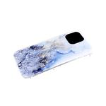 Чехол для Huawei Honor 9a прозрачный борт, размытые краски с блестками, голубая