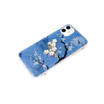 Силиконовый чехол Iphone 11 рисунок сакура, веточка-брошь, синий