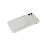 Силиконовый чехол Iphone 12 (6.1) матовый с визитницей и защитой камеры, белый