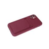 Силиконовый чехол Samsung Galaxy A02s матовый, защита камеры, с визитницей, бордовый