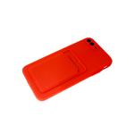 Силиконовый чехол Iphone 12 (6.1) матовый с визитницей и защитой камеры, красный