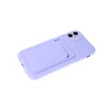 Силиконовый чехол Samsung Galaxy A02s софт тач с визитницей, сиреневый