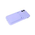 Силиконовый чехол Samsung Galaxy A12 софт тач с визитницей, сиреневый