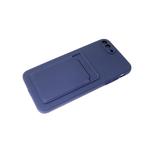 Силиконовый чехол Samsung Galaxy A02 2021 софт тач с визитницей, темно-синий