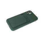Силиконовый чехол Iphone 12 (6.1) матовый с визитницей и защитой камеры, хаки