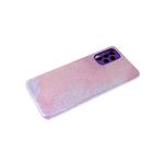Силиконовый чехол Samsung Galaxy A12 защита камеры, блестящий 3в1, фиолетовый