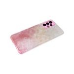 Силиконовый чехол Samsung Galaxy A12 защита камеры, блестящий 3в1, розовый