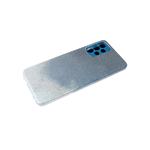 Силиконовый чехол Samsung Galaxy A12 защита камеры, блестящий 3в1, синий