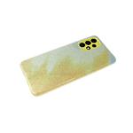Силиконовый чехол Samsung Galaxy A12 защита камеры, блестящий 3в1, желтый
