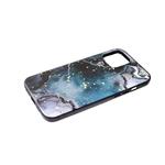 Чехол для Samsung Galaxy A52 черный борт, рисунок с фольгой, под мрамор, зелено-черный