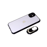 Чехол для Iphone 11 матово-прозрачная, защита камеры, с кольцом-держателем, черная