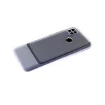 Силиконовый чехол Xiaomi Redmi 9a матовый карбон с защитой камеры, цветные кнопки, прозрачный