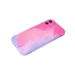 Силиконовый чехол Samsung Galaxy A51 матовый, размытые краски, розово-сиреневый
