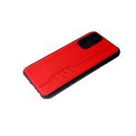 Силиконовый чехол Xiaomi Redmi 9T под кожу с прострочкой, 6d камера, черный борт, красный