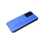 Силиконовый чехол Xiaomi Redmi 9T под кожу с прострочкой, 6d камера, черный борт, синий