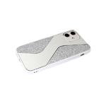 Чехол для Samsung Galaxy A52 силикон. борт, поверхность из страз, с зеркальным элементом, белая