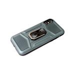Чехол для Samsung Galaxy A12 противоударная, рифленые вставки, с кольцом, хаки