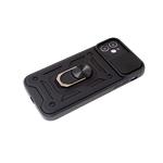 Чехол для Samsung Galaxy A02s противоударная, свап камера и кольцо-держатель, черная