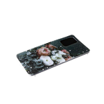 Силиконовый чехол Xiaomi Redmi 9T прозрачный борт, звезды поверх рисунка, цветы
