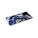Силиконовый чехол Samsung Galaxy S21 Ultra прозрачный борт, звезды поверх рисунка, синий мрамор